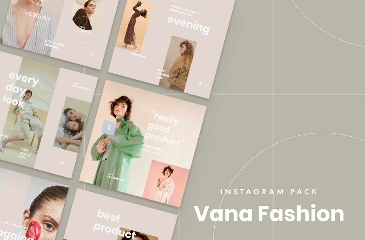 13. Vana Fashion Instagram Templates (PSD, Sketch)