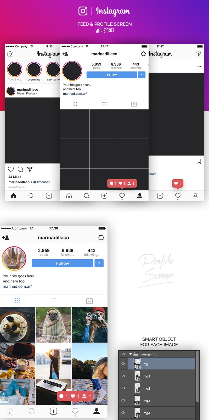 19. Free Instagram Layout UI PSD