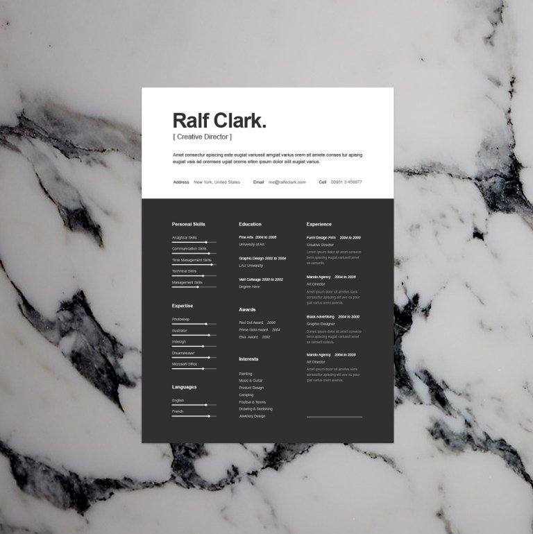 3. BW Resume Template