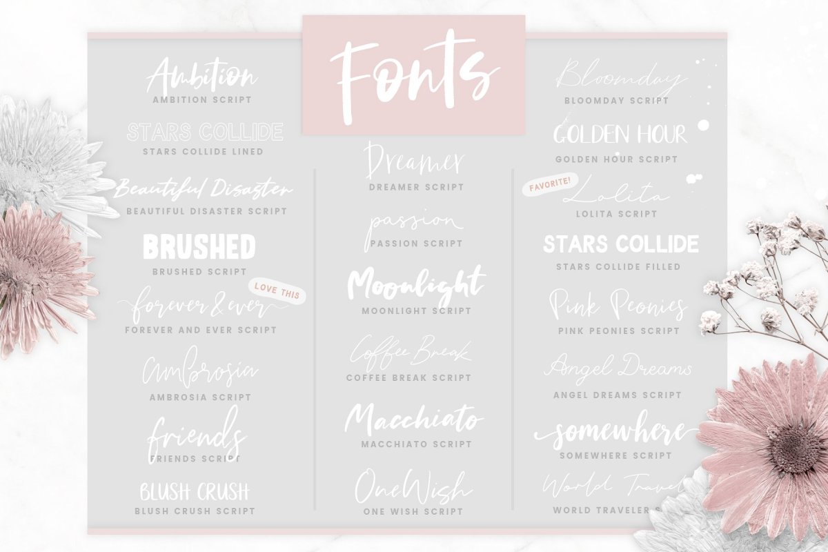 9. Font Bundle + Collage Graphics