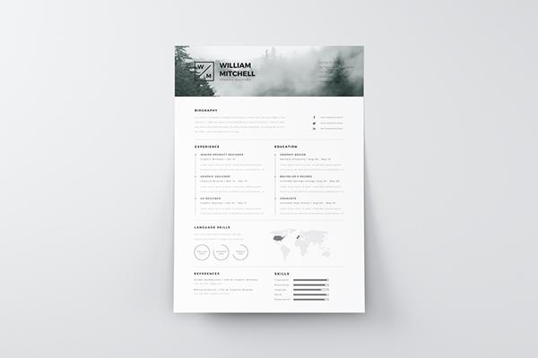 9. Free Minimalistic & Clean Resume Ps & AI