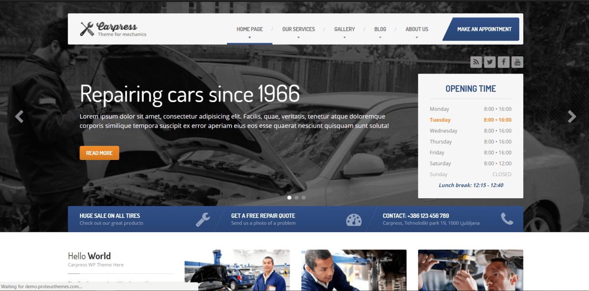 16. CarPress - WordPress Theme for Mechanic Workshops