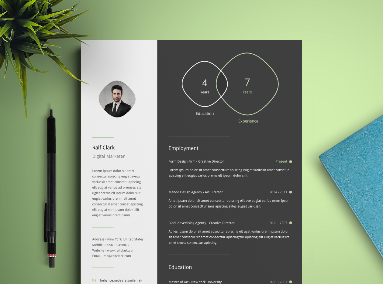 Resume Mockup Infographic Resume Template