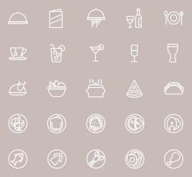 menu icons restaurant resturant websites apps related line food