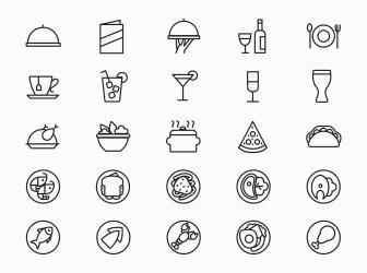 menu restaurant icons variations