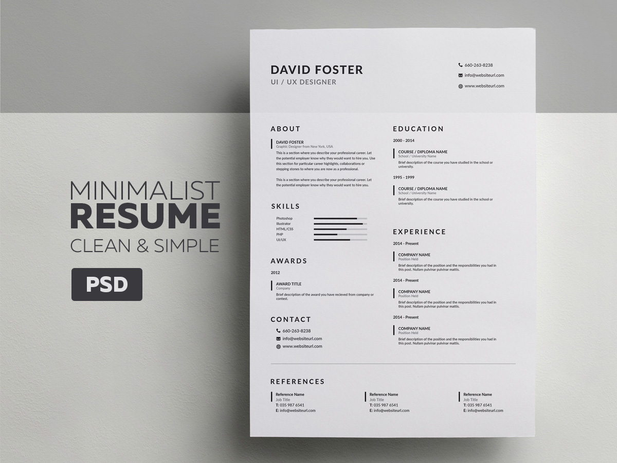 Minimalist ResumeCV  David  Graphic Pick