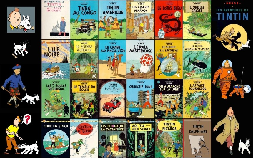 The-adventures-of-Tintin-tintin collection of book covers