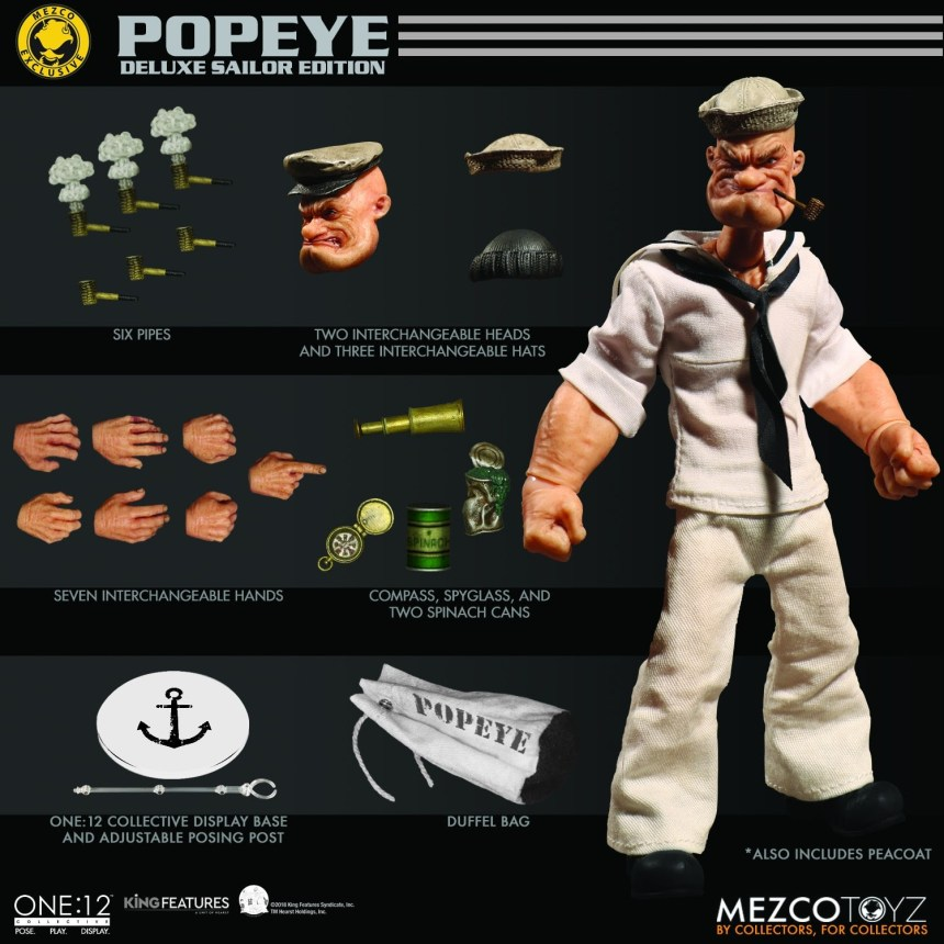 One:12 Collective Popeye – Deluxe Sailor Edition accessories