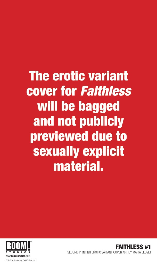 Faithless #1 Second Printing Erotic Variant Cover