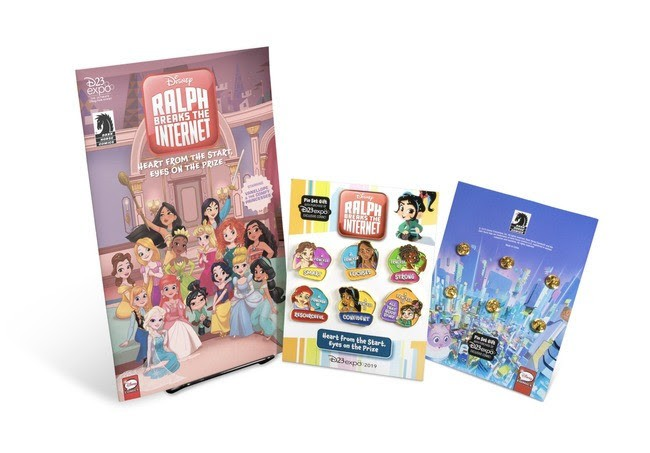 D23 Expo 2019 Exclusive Disney Ralph Breaks the Internet: Heart From The Start, Eyes On The Prize, Starring Vanellope & the Comfy Princesses Comic & Pin Set Gift