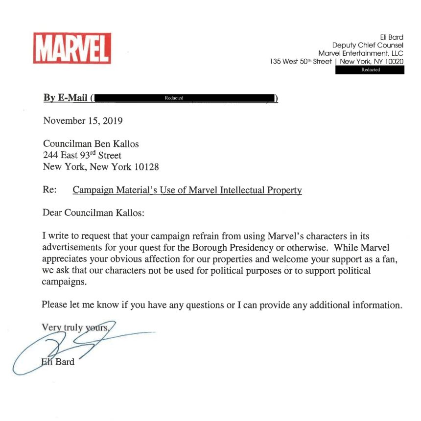 Marvel cease and desist to Ben Kallos