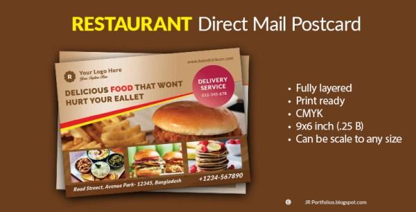 Restaurant Food Menu Promotional EDDM Postcard Template