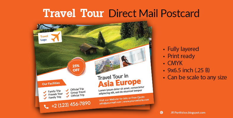 Travel Tour EDDM Postcard Template Cover By Saleh