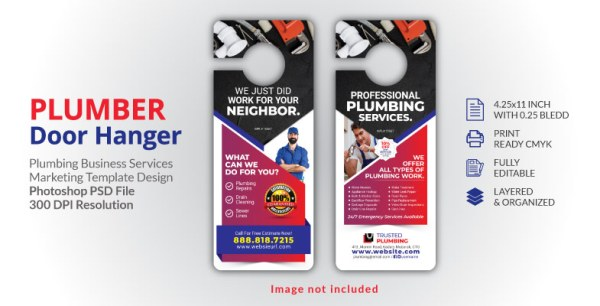 PLUMBER DOOR HANGER TEMPLATE DESIGN FOR PLUMBING SERVICES