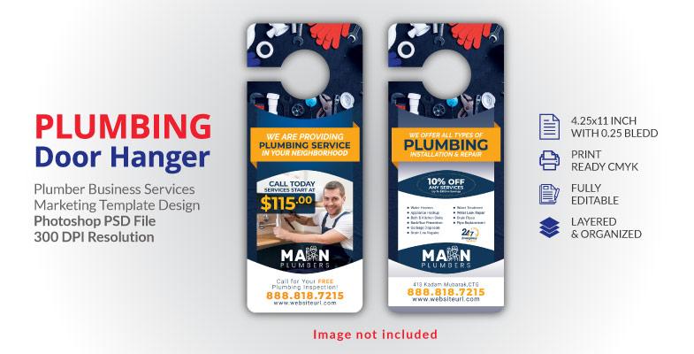 Plumbing Plumber Door Hanger Template Design 2