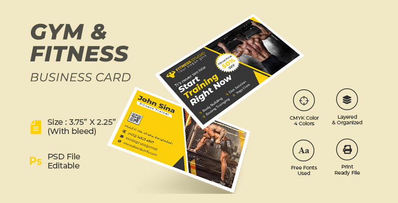 Gym and Fitness Training Center Advertising Business Card Design Cover Photo