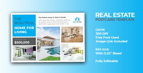 Creative Modern Real Estate Postcard Template