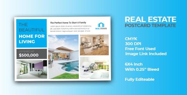 Creative Modern Real Estate Postcard Template
