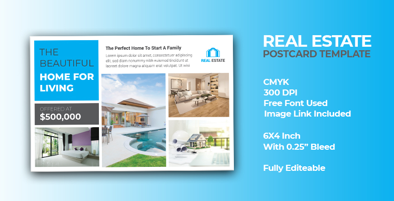 Modern Real Estate Postcard Template 3