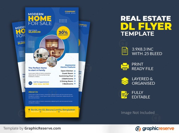 Home For Sale Real Estate Dl Flyer Rack Card Template