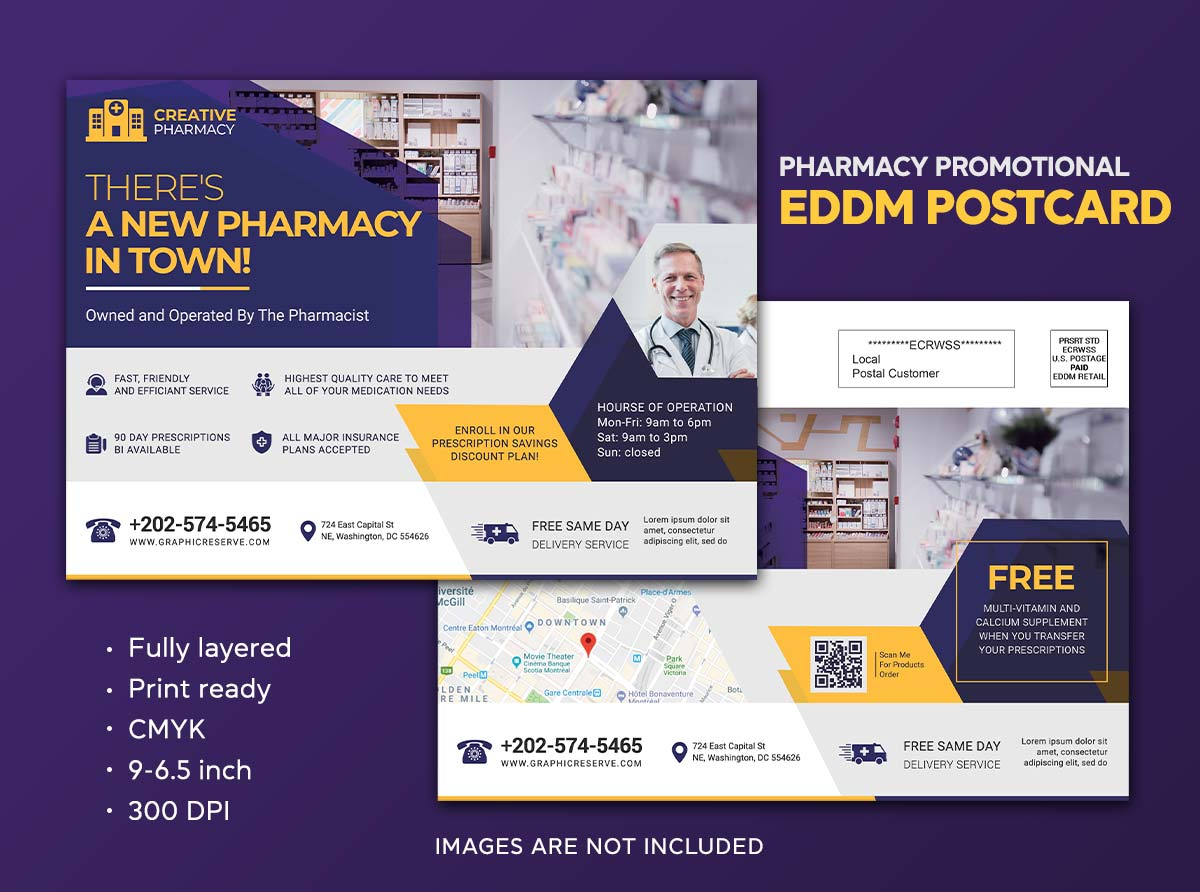 New Pharmacy Announcement Eddm Postcard Design By Sahariya 1