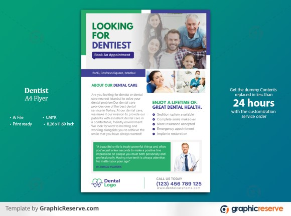 Dentist A4 Flyer Template