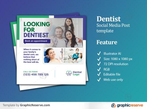Dentist Social Media Banner Post Design template