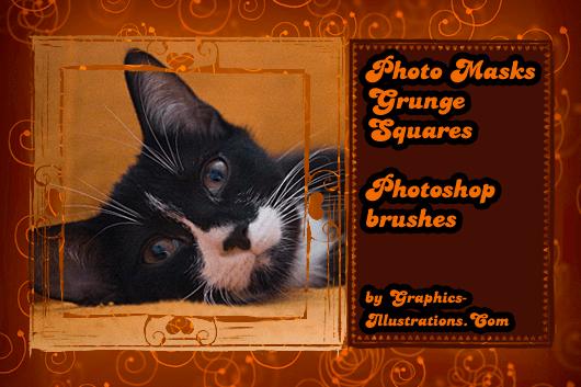 Photo Masks - Grunge Squares Photoshop brushes set (25+25+25) + 25 PNGs