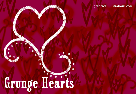Grunge Hearts Brushes, Photoshop download