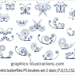 Photoshop 7.0 brushes – Butterflies Made of Swirls