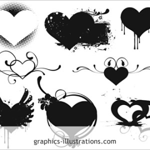Hearts Photoshop brushes set (Photoshop 7.0 brushes)