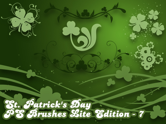 Download set of 7 free St. Patricks Day Photoshop brushes!