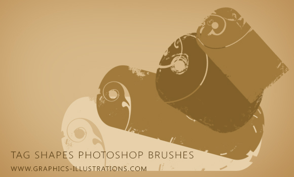 Set of Tag shapes Photoshop brushes with swirls decorations in grunge style: FREE Download