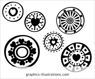 LITE Hearts - circles Photoshop brushes set edition, 6 brushes in a set