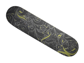 swirled skateboard, using Photoshop brushes