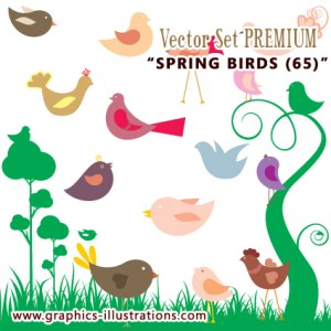 Illustrator Vector Set: Spring Birds (65)