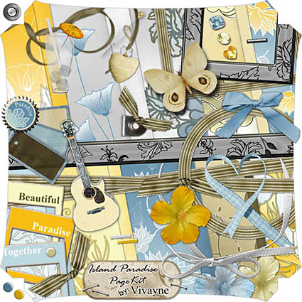 Photoshop Brushes sample usage, Free Digital Scrapbooking Kit