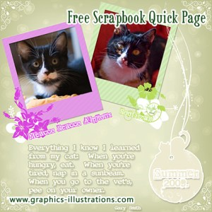 2 cats Digital Scrapbooking Quick Page – Free download