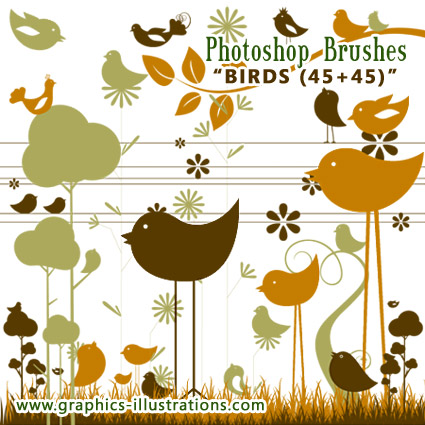 Photoshop Brushes: Birds (45+45)