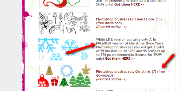 Lite and Premium Christmas Photoshop brushes