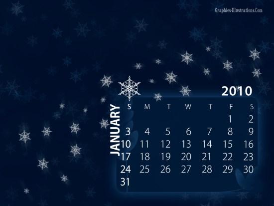 Free download: January 2010 Desktop Calendar Wallpaper