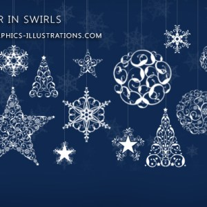 Photoshop brushes: Winter in Swirls (Snowflakes, Trees, Stars and Balls made of swirls)