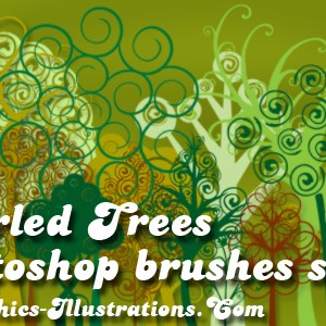 Swirled Trees, New Photoshop Brushes – Digital Stamps set