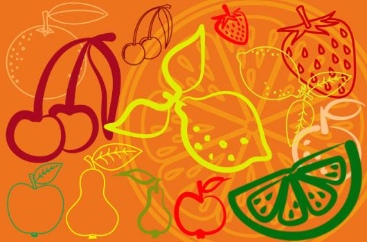 Fruits Photoshop Brushes set