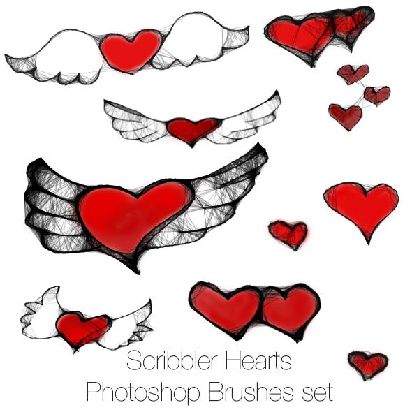 Scribbler Hearts Photoshop brushes