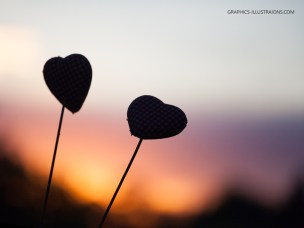 Graphics Illustrations Wallpaper - Two Hearts In The Sunset 1024 × 768