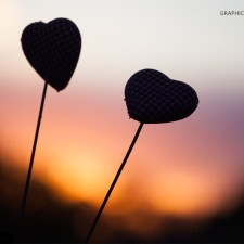 Graphics Illustrations Wallpaper - Two Hearts In The Sunset 1440 × 900