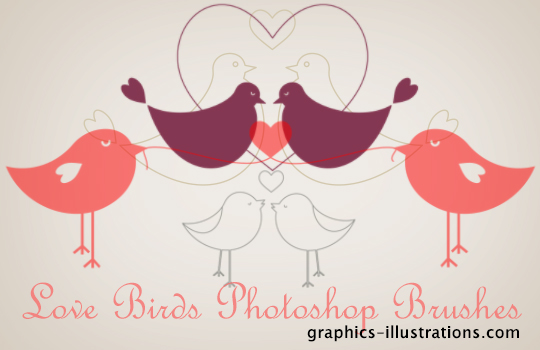 Love Birds Brushes set, 8 small brushes, free for all (306-552 pix size)