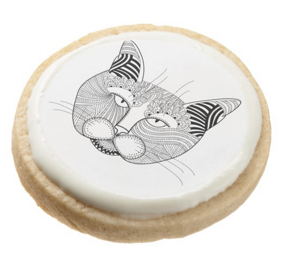 Shortbread Cookie, zentangle cat