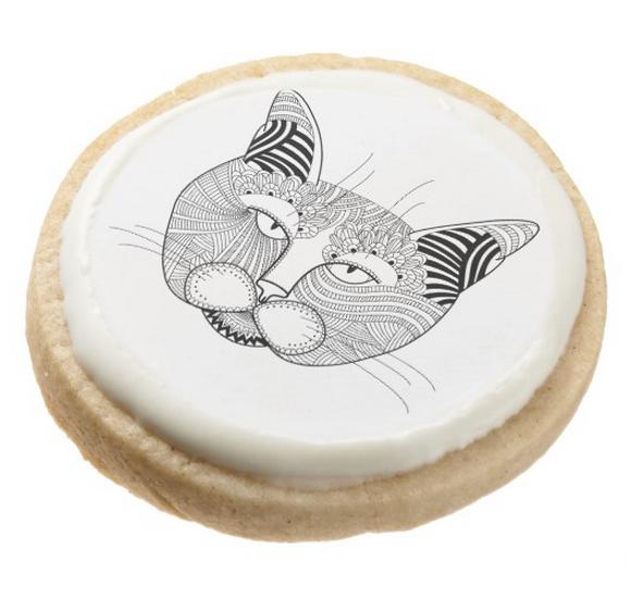Shortbread Cookie, zentangle cat